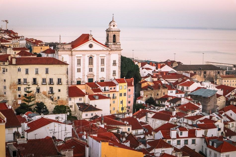 Santa Luzia viewpoint in Lisbon at sunset