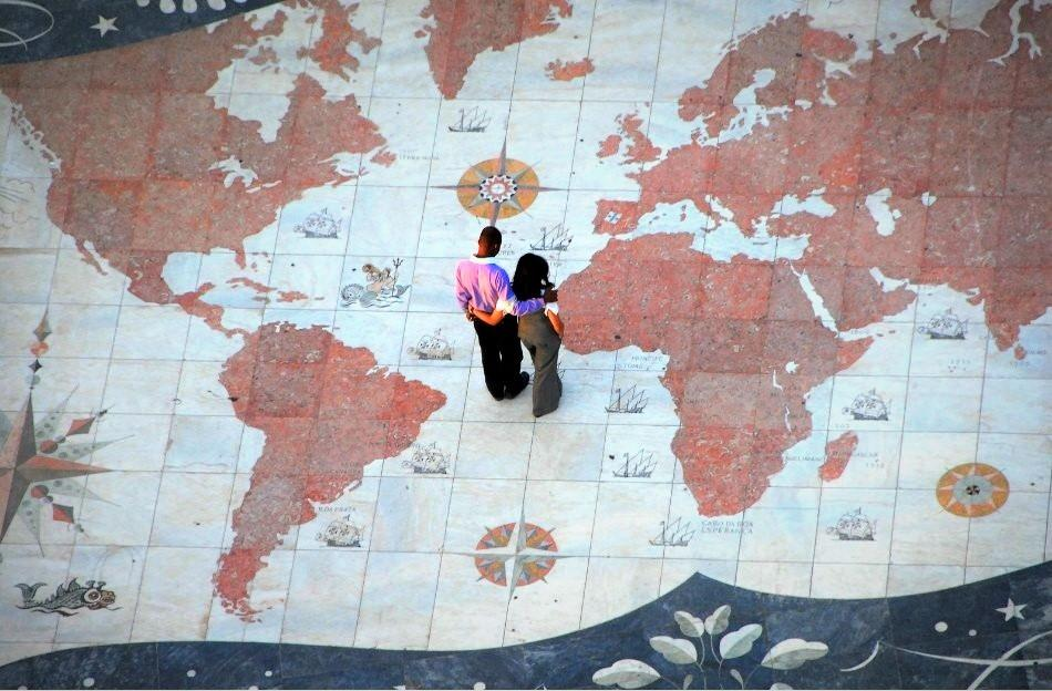 World map pavement at the Monument of Discoveries, Lisbon