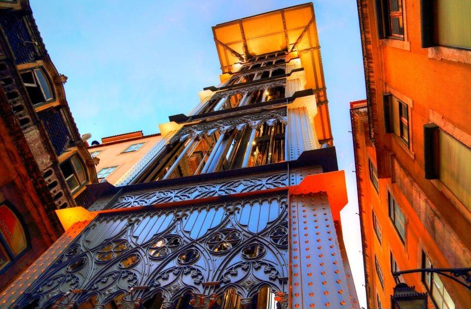 Santa Justa Elevator seen from below, Lisbon