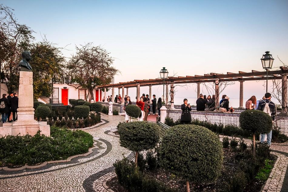Miradouro de Santa Luzia garden in Lisbon at sunset