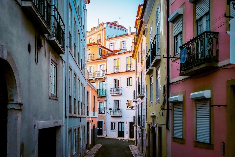 colorful houses in Alfama, Lisbon
