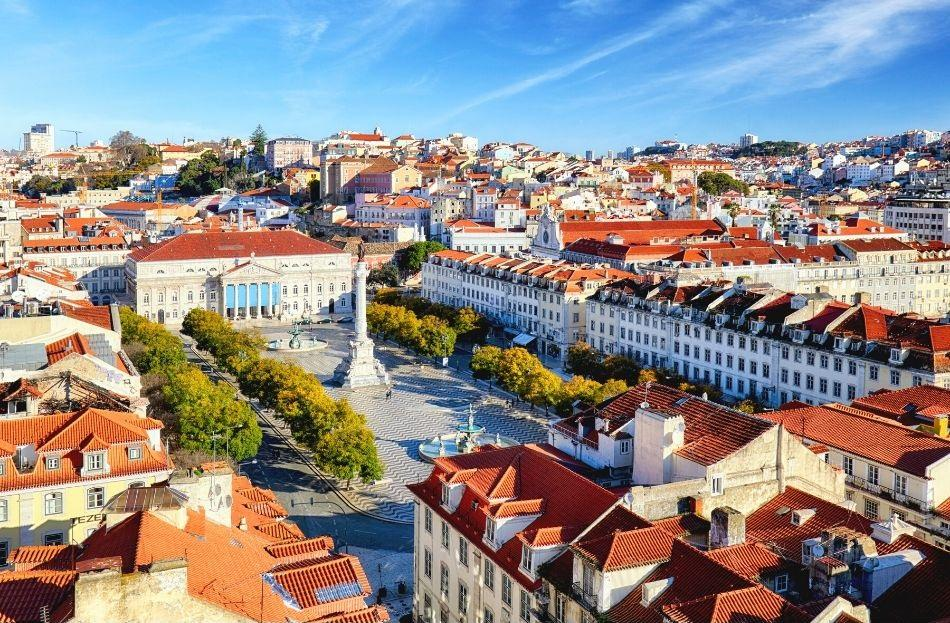 View from the top of Santa Justa Elevator Lisbon