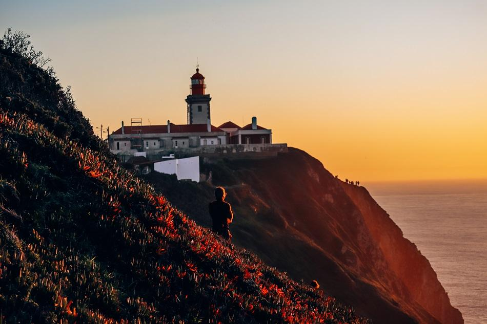 Cabo da Roca Lighthouse at sunset