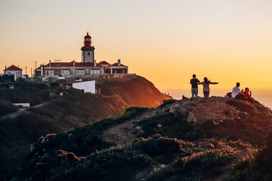 Cabo da Roca sunset with the lighthouse in the distance