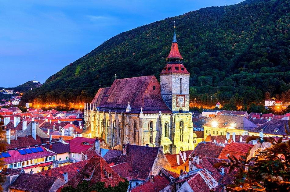 The Black Church of Brasov during the night