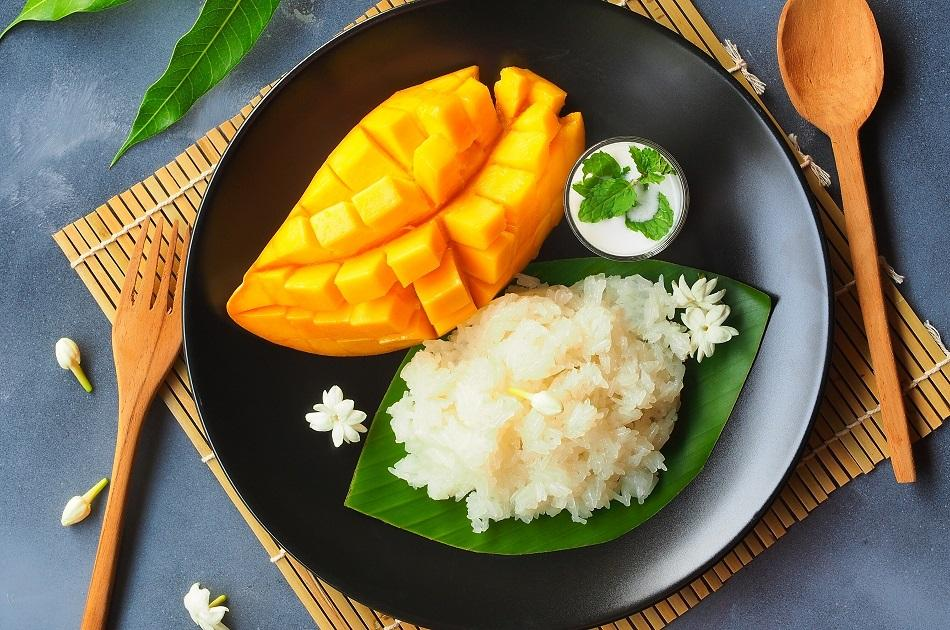 Mango Sticky Rice traditional dish in Thailand