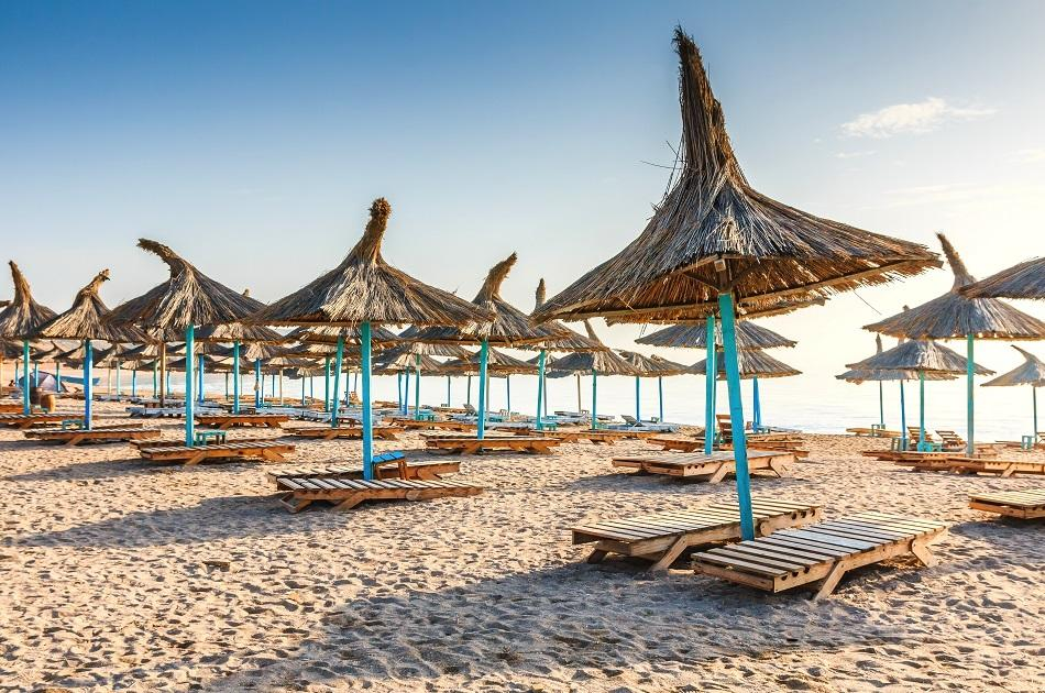 Umbrellas and sunbeds at Navodari Beach Romania