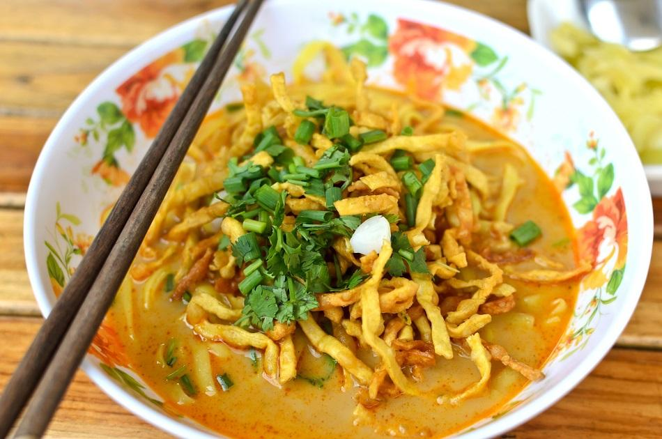 Num Banh Chok noodle soup from Cambodia
