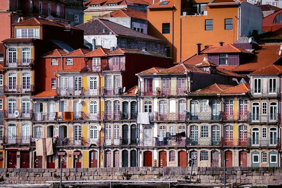 Ribeira buildings facades Porto