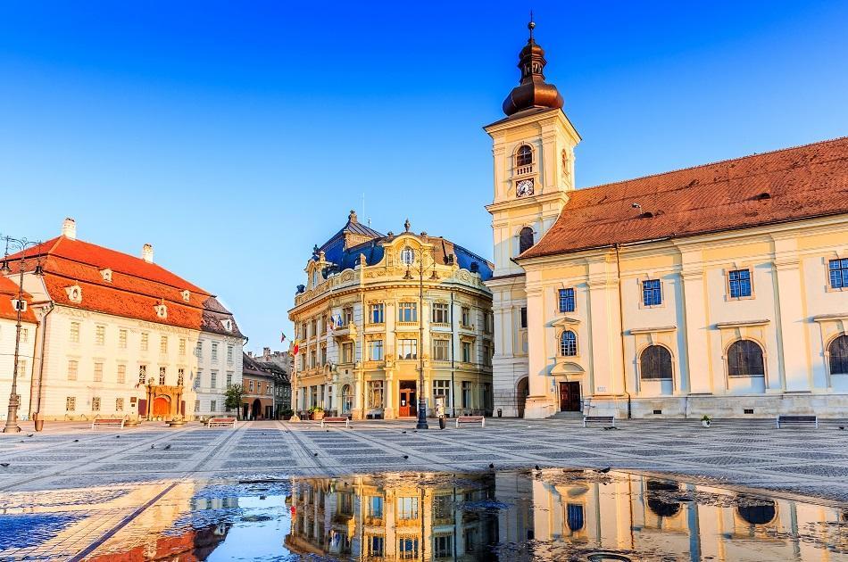 Morning in Sibiu city center