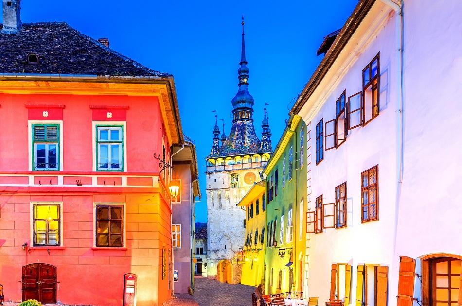 tower of Sighisoara during the night