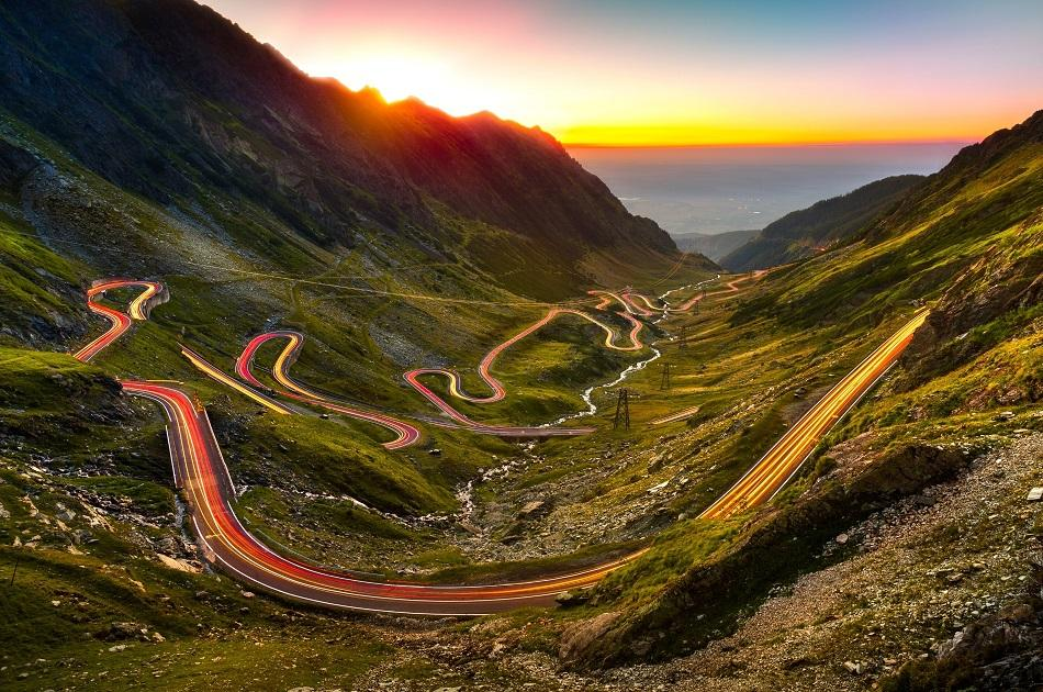 Transfagarasan road at sunset