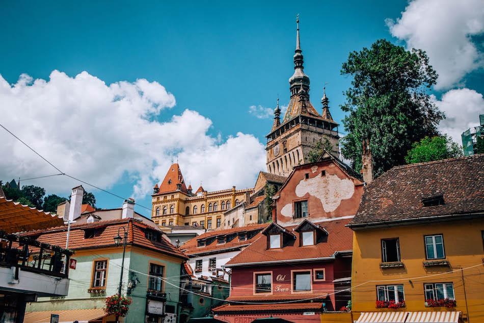 Houses and towers in Sighisoara Fortress Romania