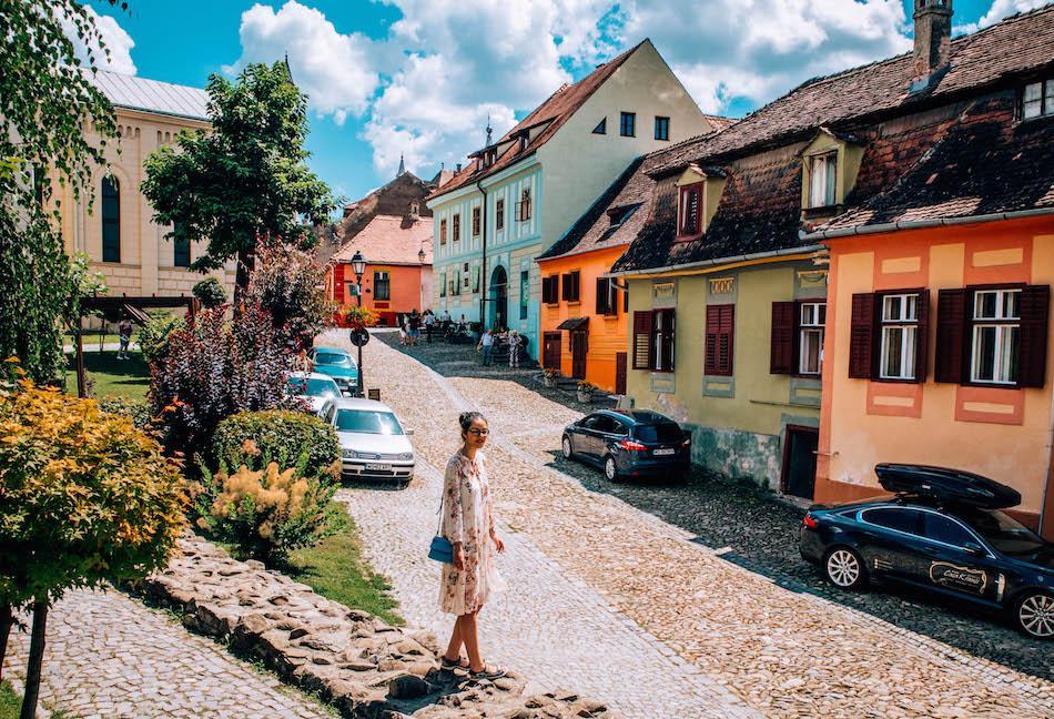 Aurelia Teslaru in Sighisoara Fortress Romania