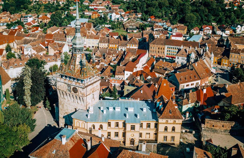 Clock Tower and History Museum in Sighisoara Fortress Romania