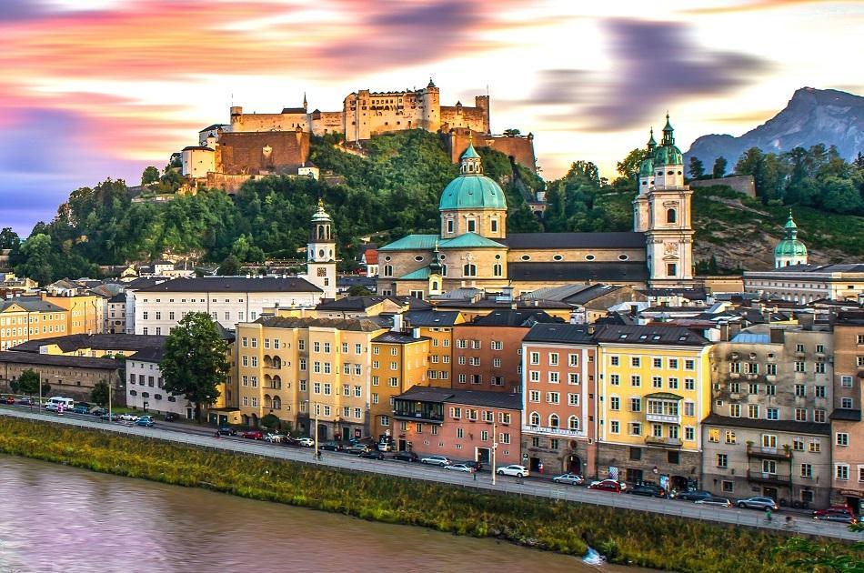 Salzburg city at sunset