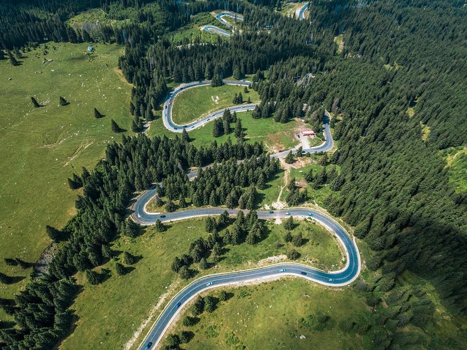 Transalpina Road aerial view