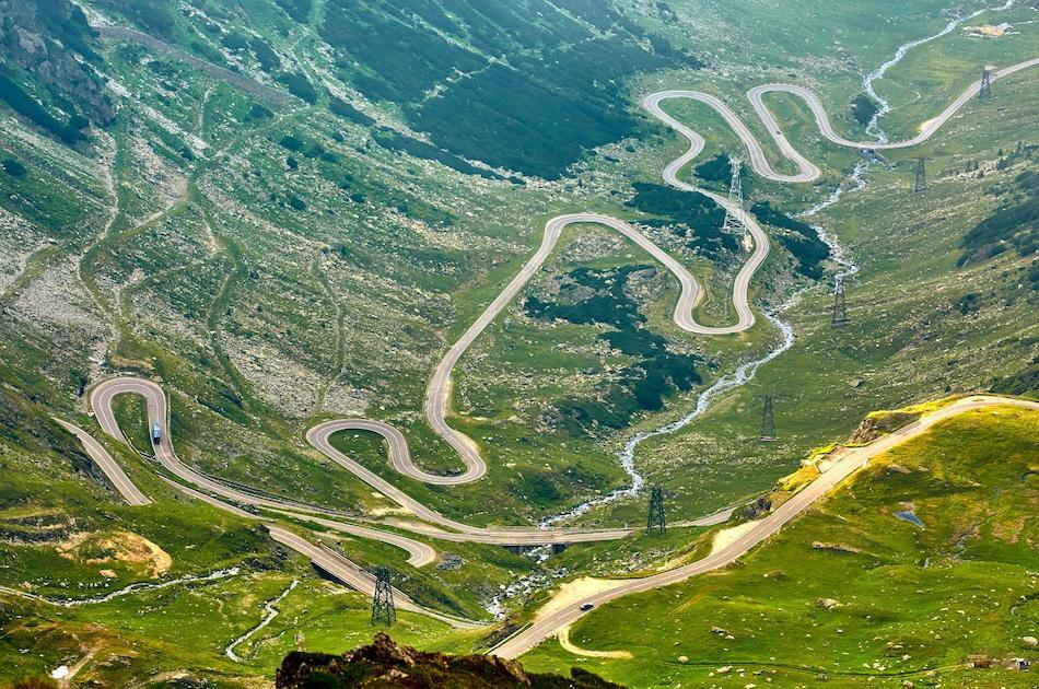 Transfagarasan Highway Romania drone view