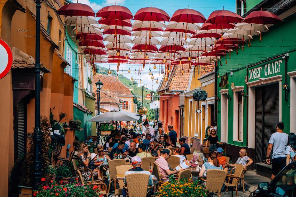 Umbrella Street Sighisoara Romania