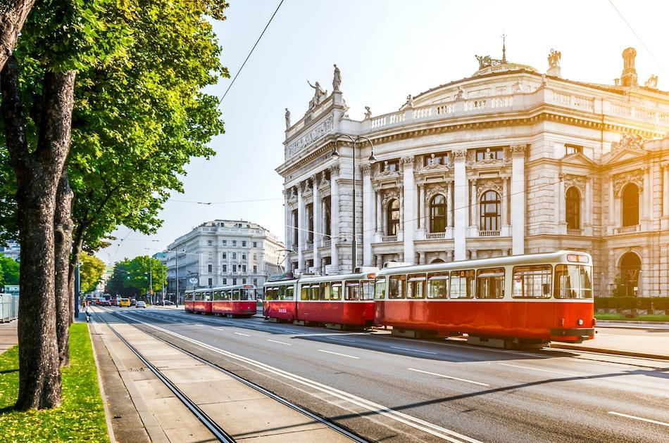red trams in Vienna