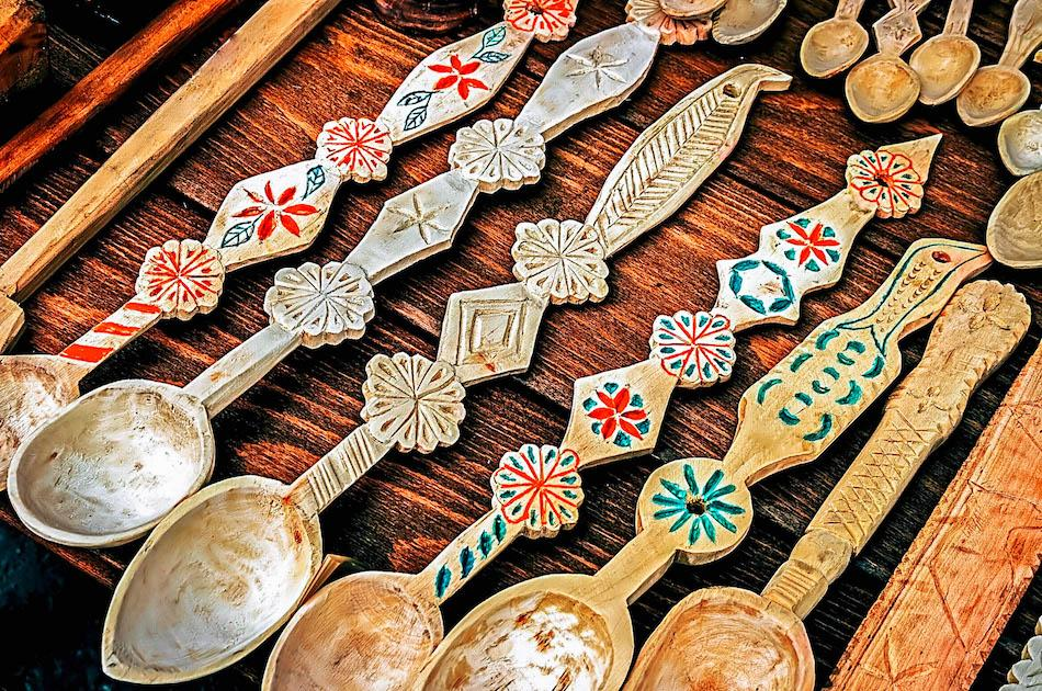 Carved wooden spoons from Romania. Unique romanian souvenirs, things to buy