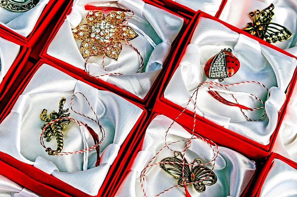 Romanian broches in March called Martisor. Romanian souvenir ideas, souvenirs from Romania