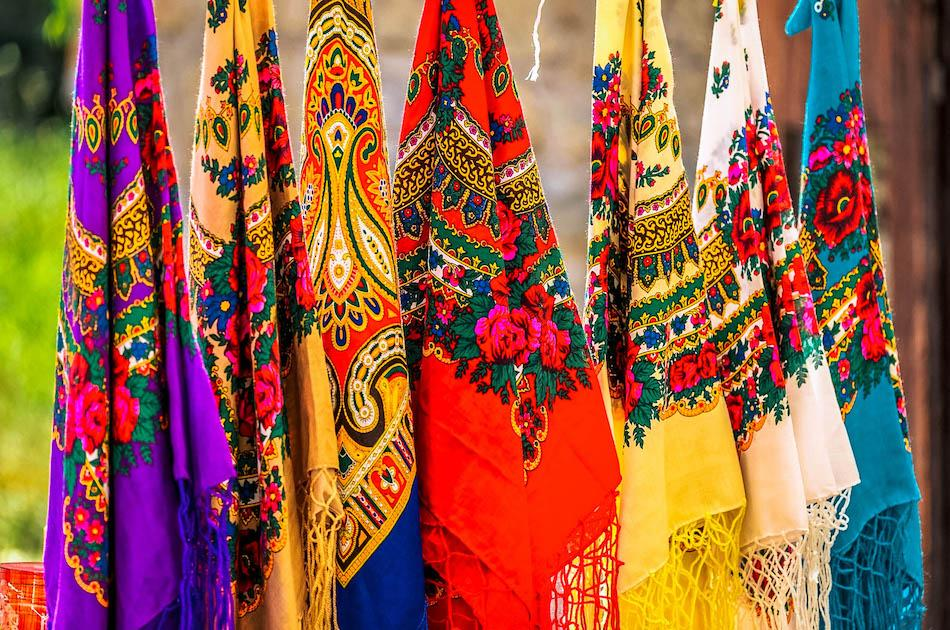 Colorful Romanian scarves, romania souvenirs