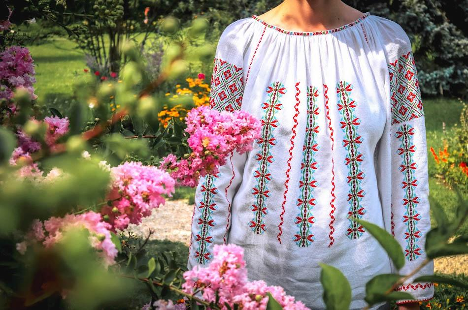 Traditional Romanian Blouse called ie. Traditional romanian motifs, romanian souvenirs