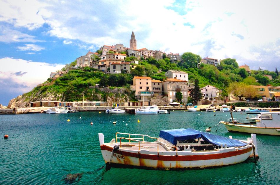 Vrbnik Town and boat - hidden gem in Croatia