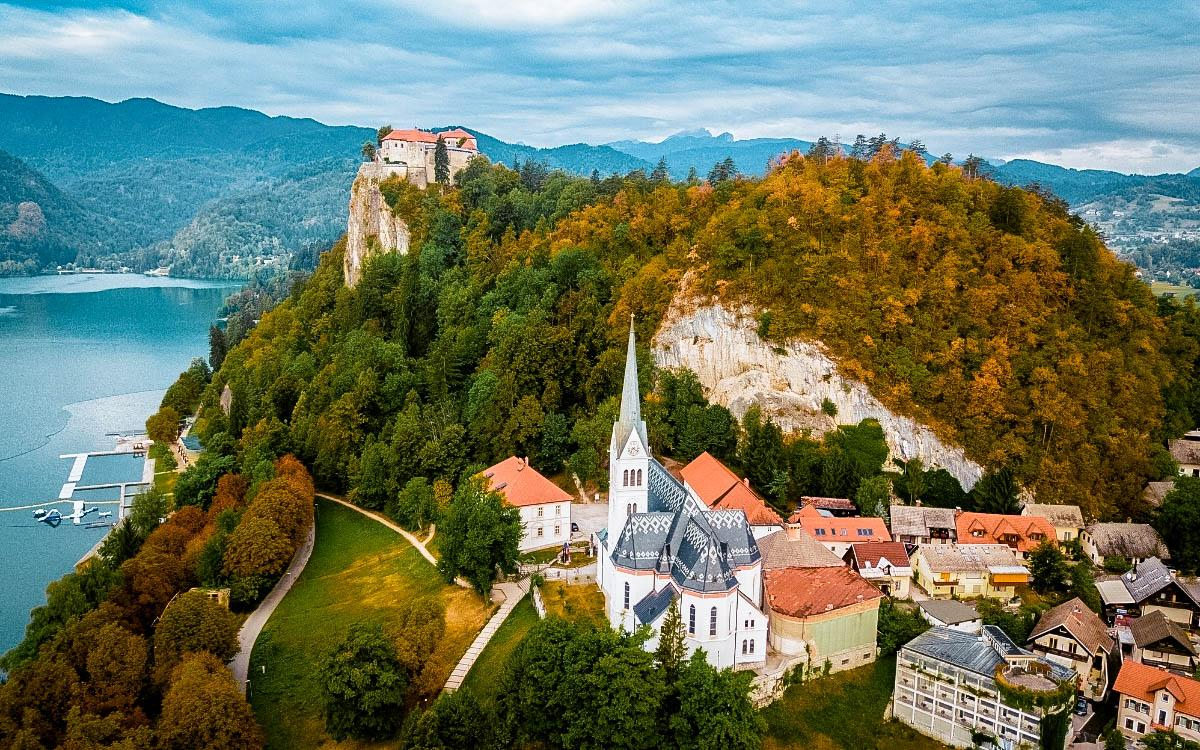 Bled Castle Slovenia with Bled Lake on the background - beautiful castles in Europe