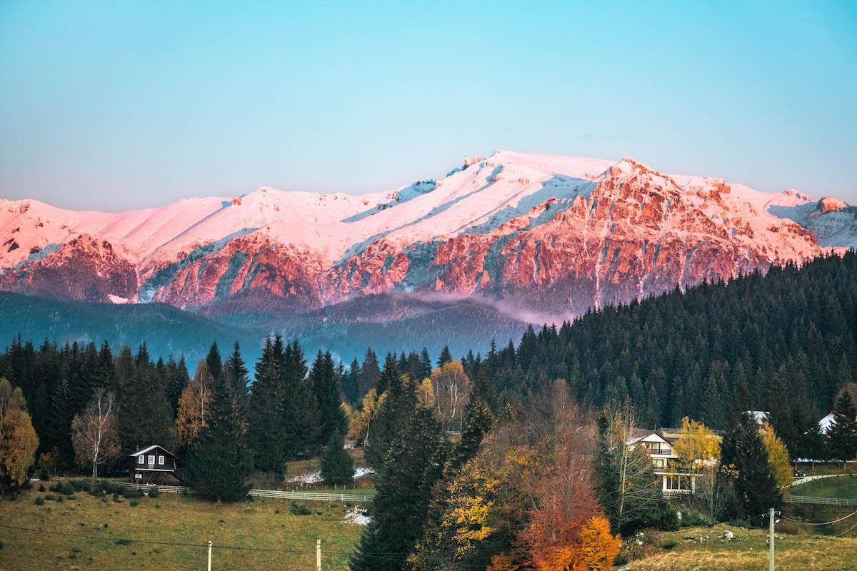 Bucegi Mountains at sunset seen from Cheile Gradistei, Bran