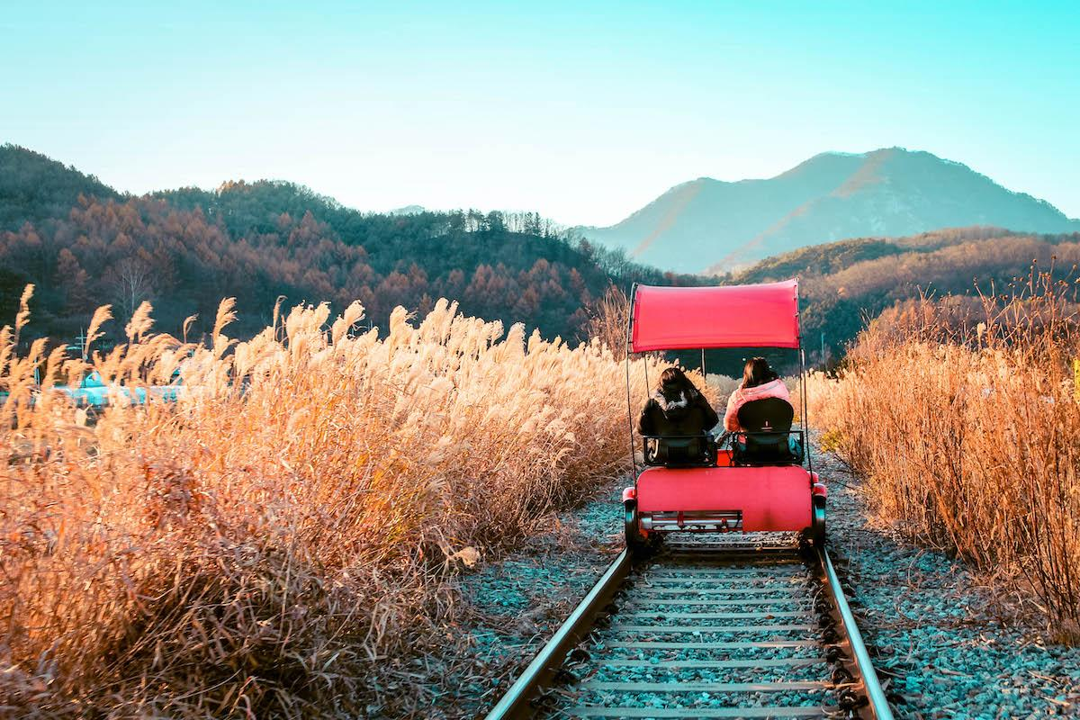 Ganchon Rail Park in winter in South Korea - things to do in Korea in Winter, winter destinations in Korea, winter activities in South Korea