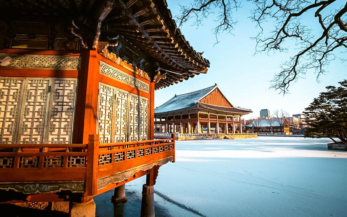 Gyeongbokgung Palace in Seoul in winter covered in snow