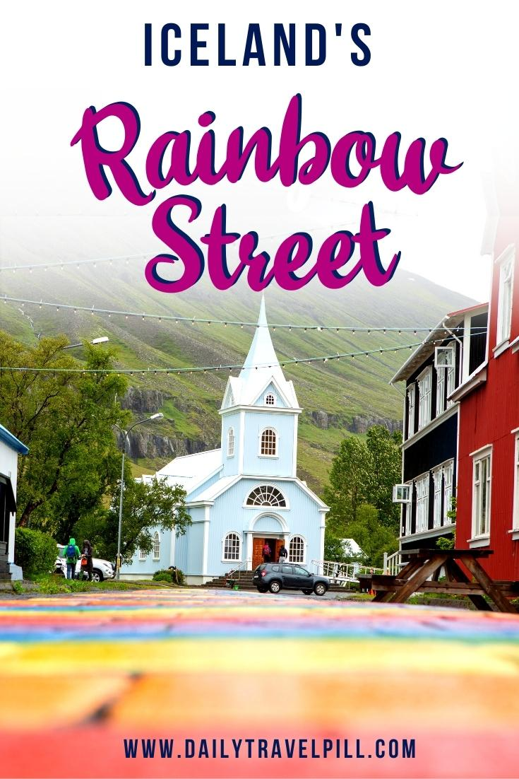 Iceland Colorful Street in Seydisfjordur. Rainbow Road Iceland