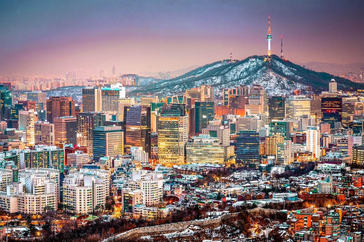 Seoul in winter covered in snow, South Korea