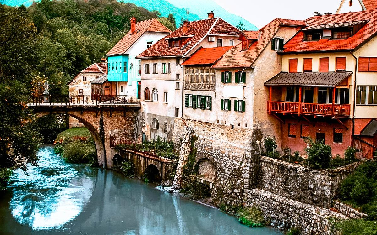 Skofja Loka Village Bridge - hidden gems in Slovenia, off the beaten path, Slovenia off the beaten track, Slovenia secret places, Slovenia unique destinations, less known places in Slovenia
