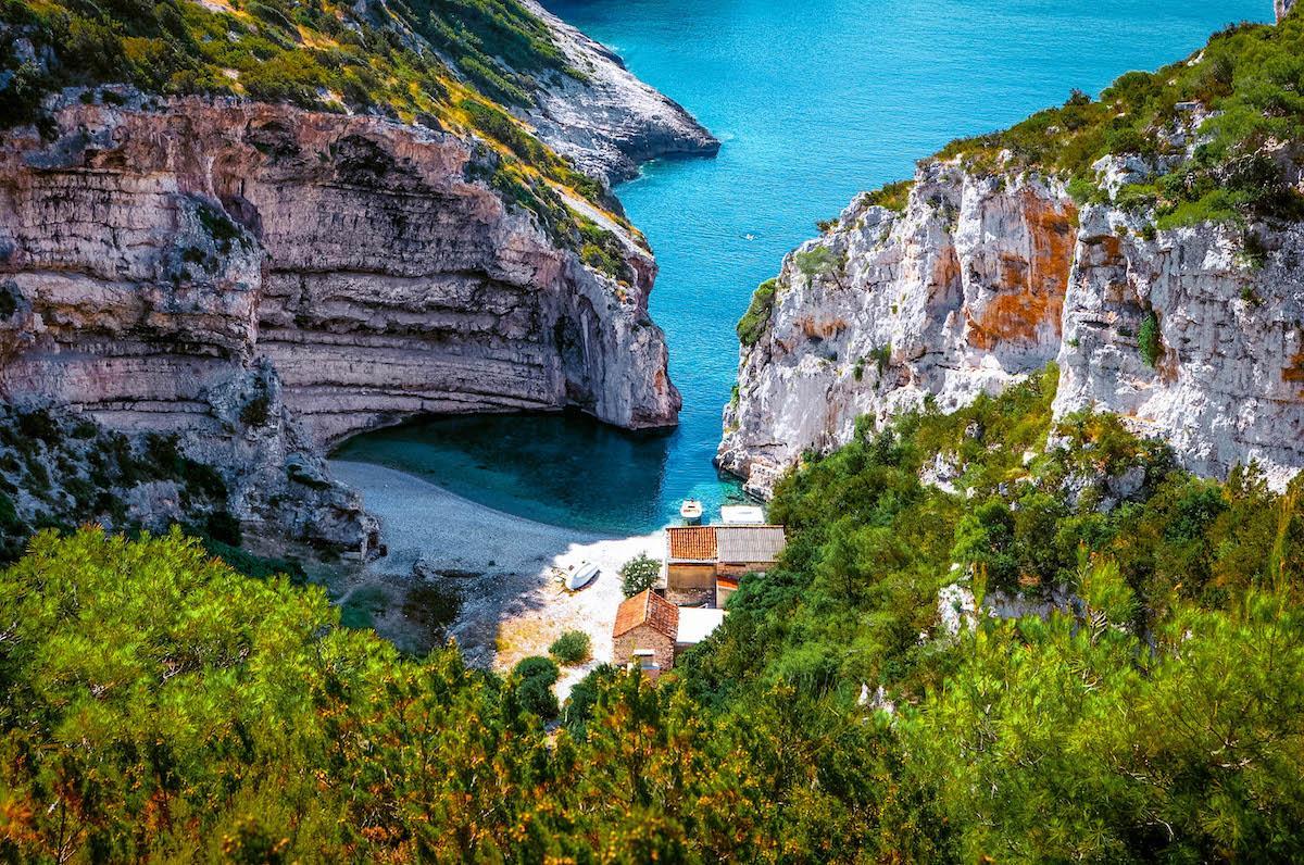 Stiniva Beach Vis Island - best beaches in croatia, top beaches in croatia, most beautiful beaches in croatia, hidden beaches in croatia