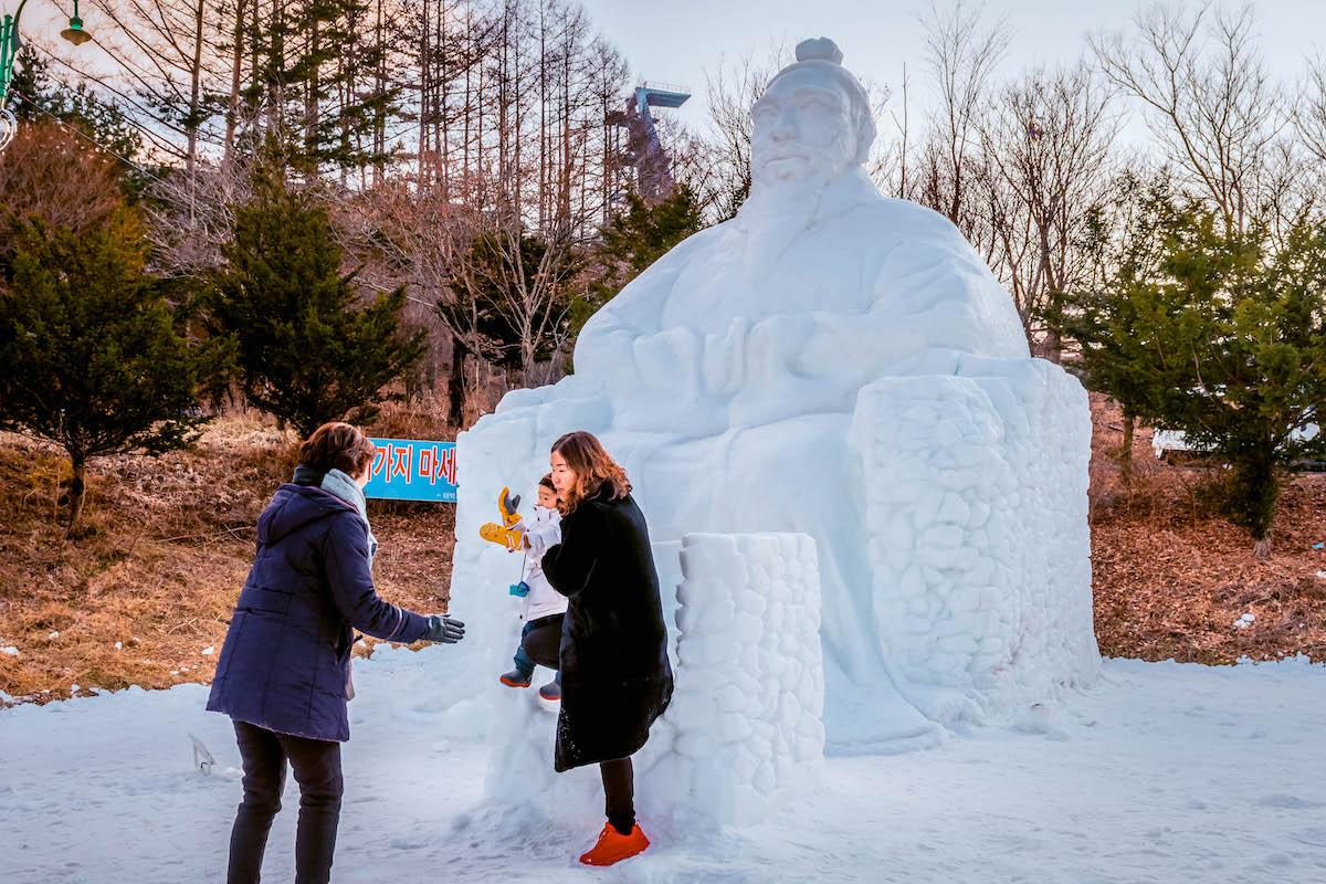 Taebaek Snow Festival in South Korea. Snow sculptures. - things to do in Korea in Winter, winter destinations in Korea, winter activities in South Korea