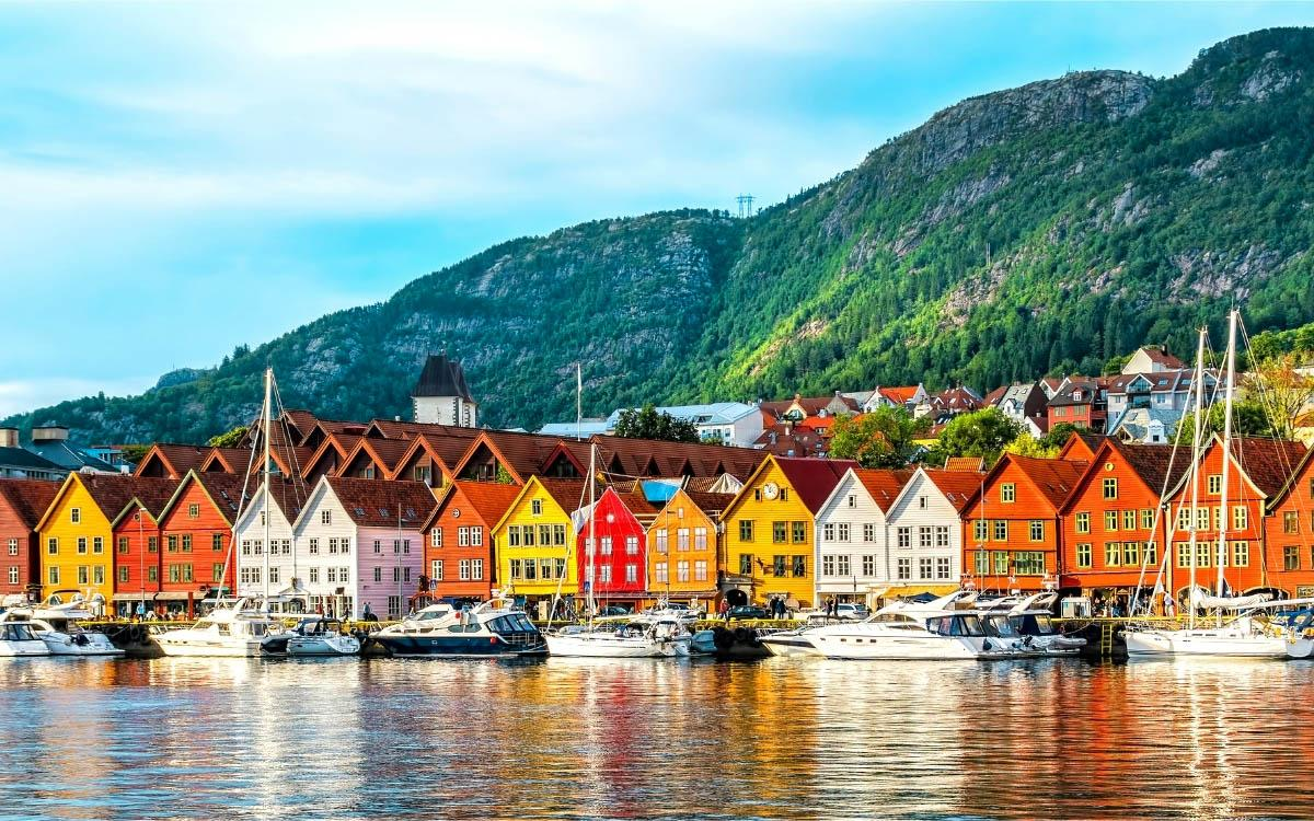 Colorful wooden houses Bergen Norway - most colorful destinations in the world, vibrant cities, colorful cities, colorful earth, vibrant places around the world