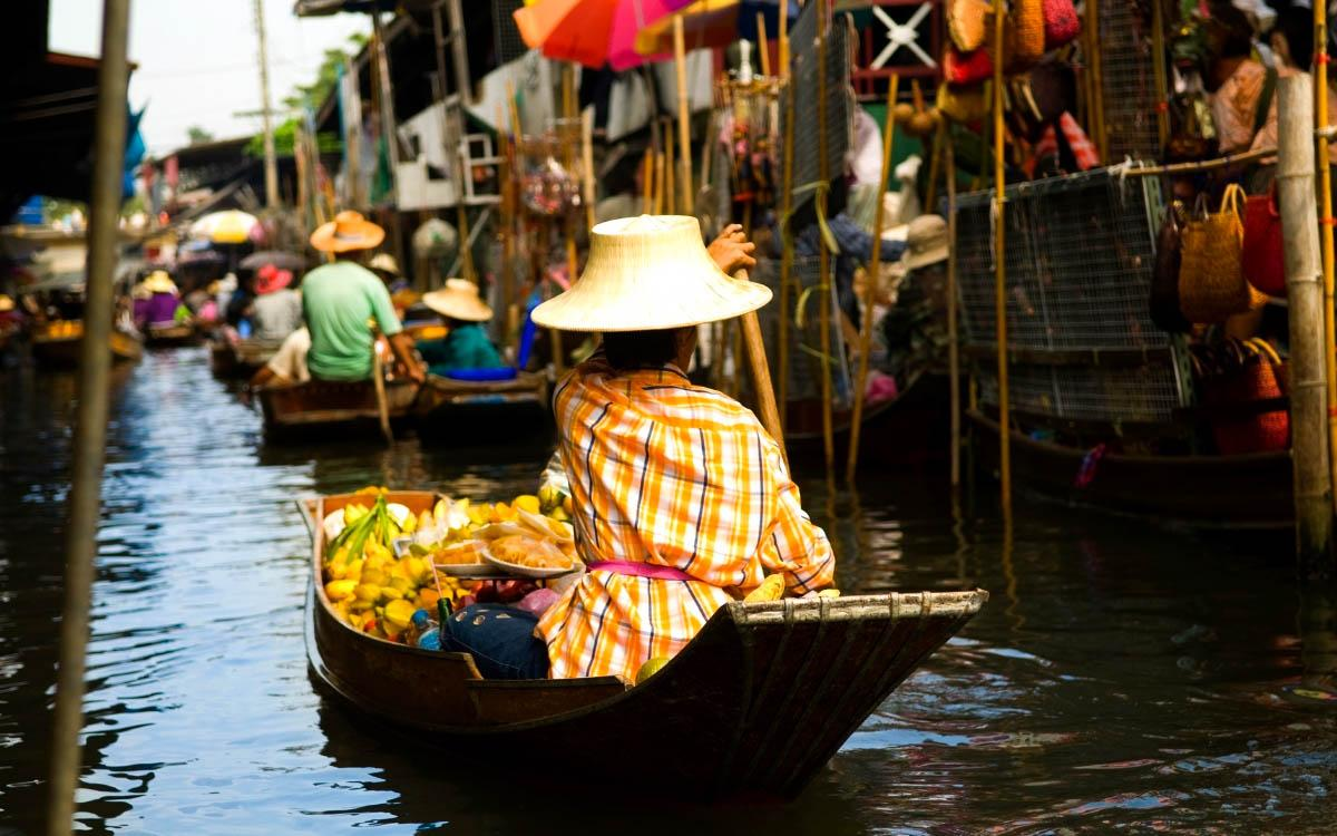 Bangkok Floating Market - most colorful destinations in the world, vibrant cities, colorful cities, colorful earth, vibrant places around the world