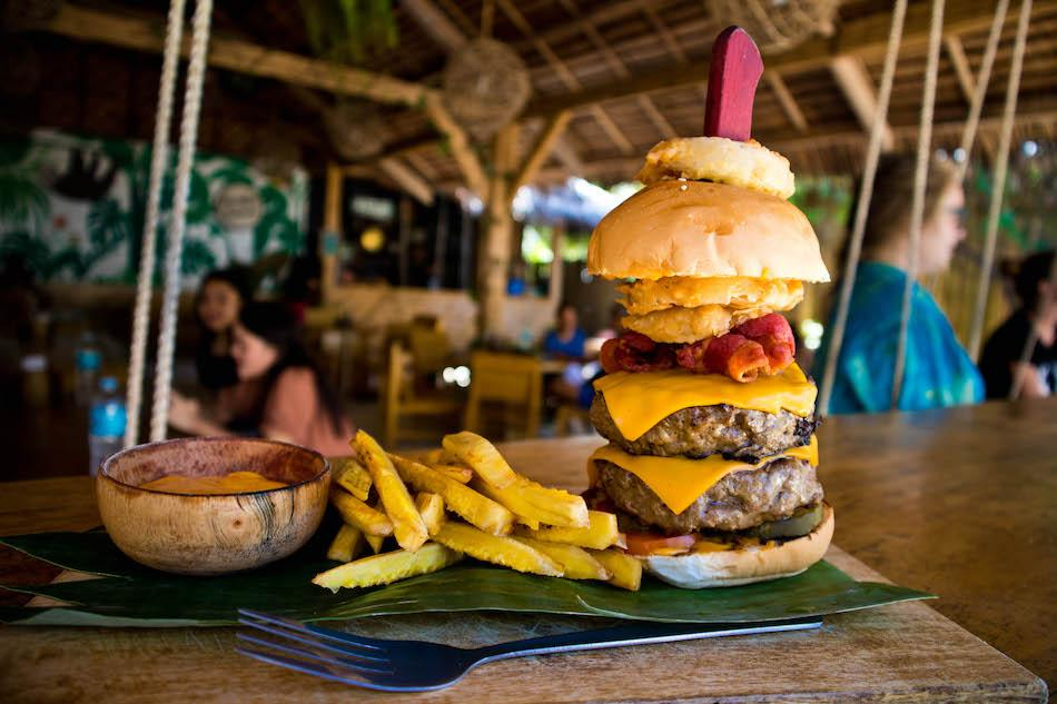 Monkey Business restaurant burger in Siquijor