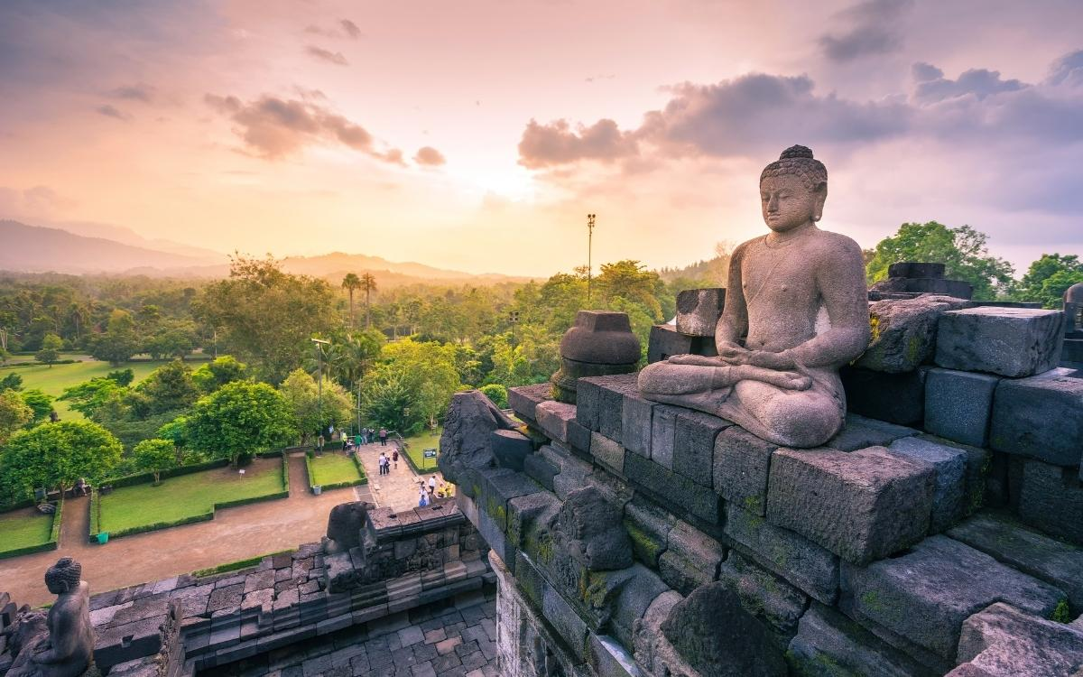 Buddha Statue at Borobudur Temple during sunrise