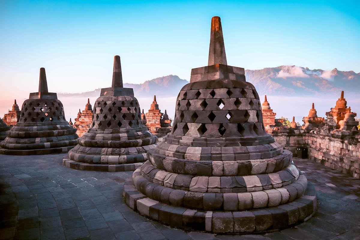 Round stupas at Borobudur Temple at sunrise, Yogyakarta