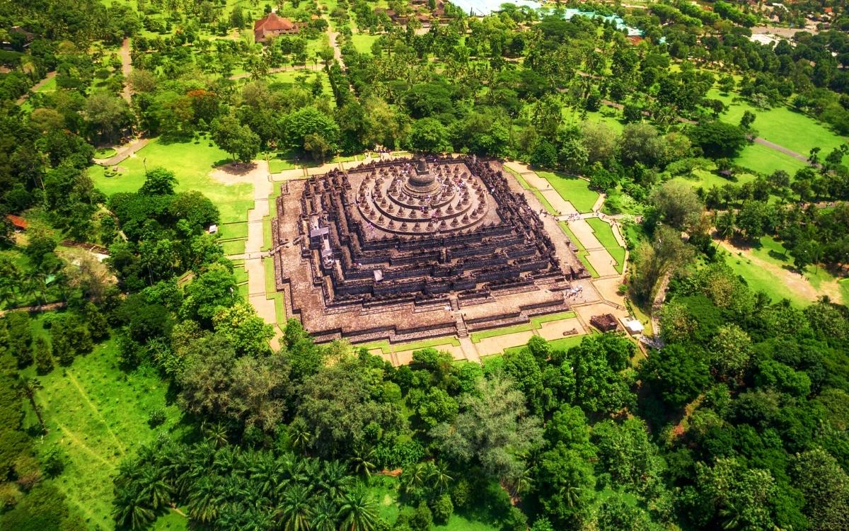 Borobudur Temple drone view