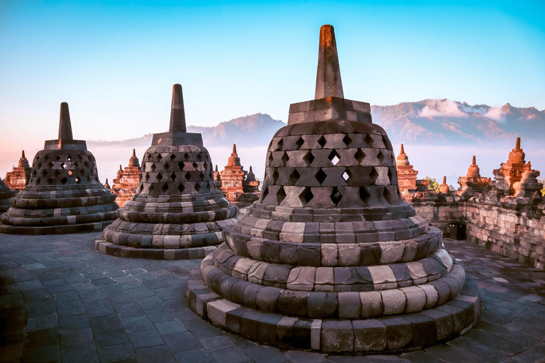 round stupas at Borobudur Temple Yogyakarta. Sunrise at Borobudur