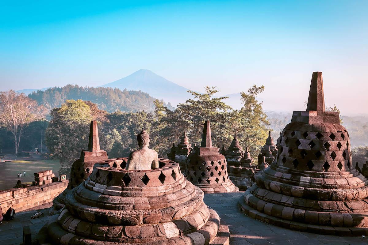 Bell shaped stupas at Borobudur Temple, Yogyakarta