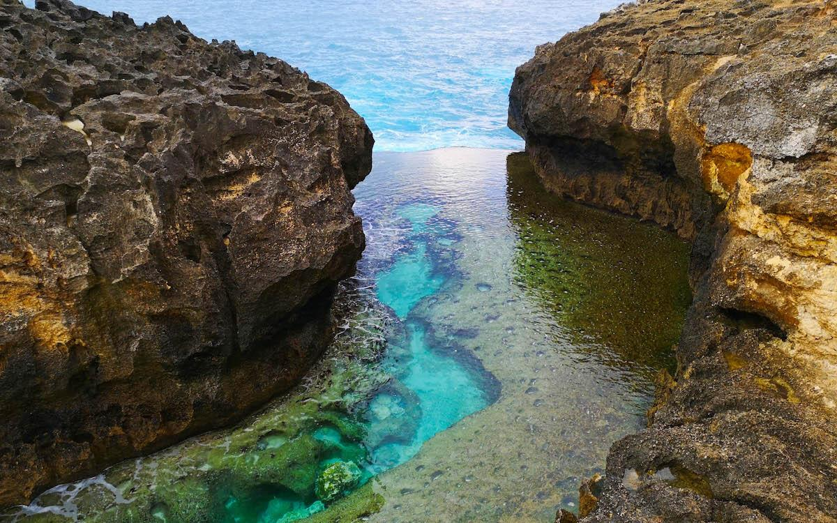 crystal clear water at Angel Billabong Nusa Penida, Bali