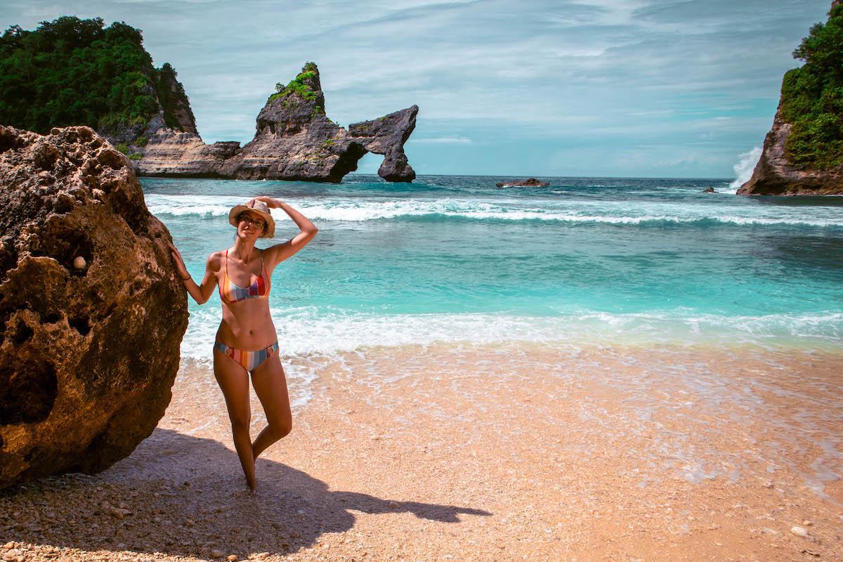 Aurelia Teslaru at Atuh Beach Nusa Penida