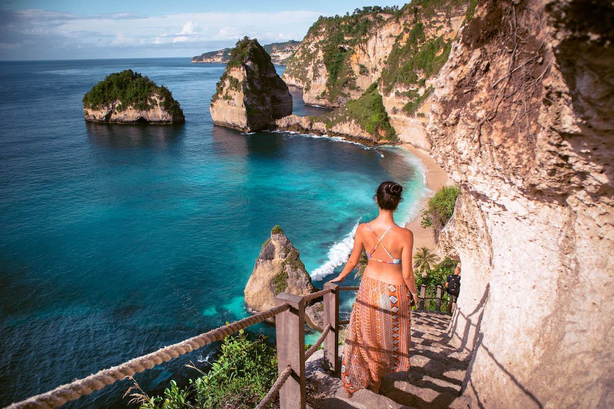 Diamond Beach Nusa Penida carved stairs in stone