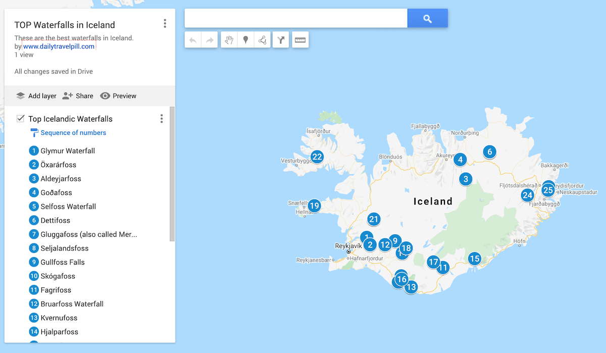 map of waterfalls in Iceland, Icelandic waterfalls map, best waterfalls in iceland, top waterfalls in iceland